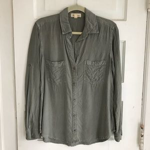 Anthropologie Cloth & Stone Green Button Down, M